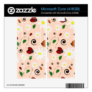 Ladybugs and Daisies in Peach Decal For Zune