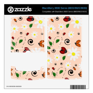 Ladybugs and Daisies in Peach BlackBerry 8830 Skins