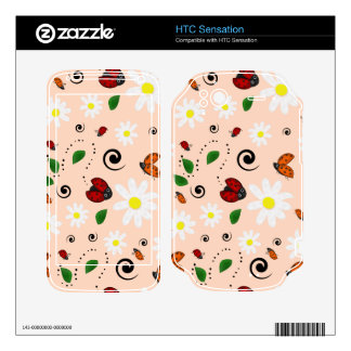 Ladybugs and Daisies in Peach HTC Sensation Decals
