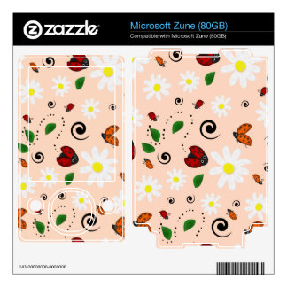 Ladybugs and Daisies in Peach Decal For The Zune