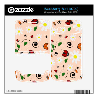 Ladybugs and Daisies in Peach BlackBerry Skins