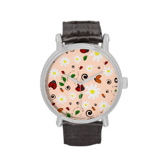 Ladybugs and Daisies in Peach Watches