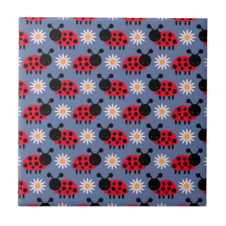 Ladybugs and Daisies Pattern Ceramic Tile
