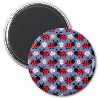 Ladybugs and Daisies Pattern Fridge Magnets
