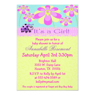 Ladybugs and Flowers Baby Shower Invitation