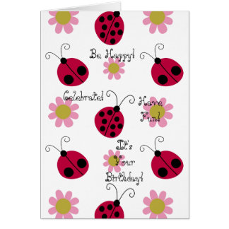 Ladybugs and Flowers Card