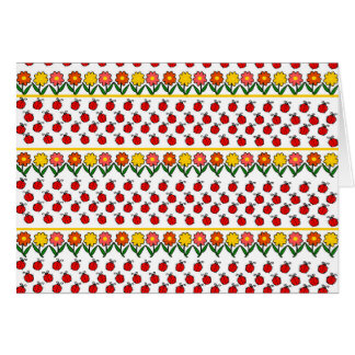 Ladybugs and flowers pattern card