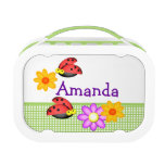 Ladybugs and Flowers Personalized Lunch Boxes