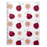 Ladybugs and Flowers Spiral Note Books