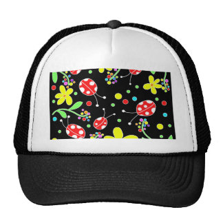 Ladybugs and flowers trucker hat