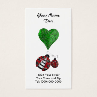 Ladybugs and Green Heart Business Card