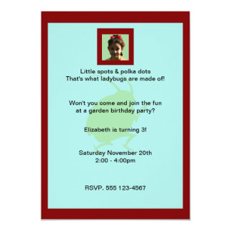"Ladybugs At Play Party Invitation 5"" X 7"" Invitation Card"