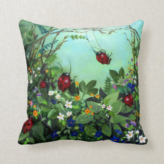 Ladybugs At Play Pillow