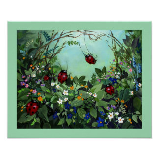 Ladybugs At Play Print