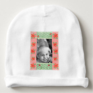 Ladybugs & Flowers Country Gingham Frame Baby Beanie