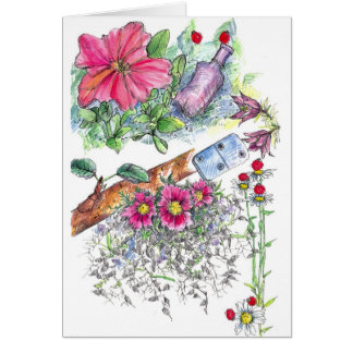 Ladybugs Flowers Domino Nature Note Card