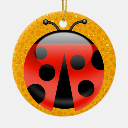 LadyBugs for Luck Ceramic Ornament