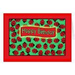 ladybugs happy birthday . greeting card