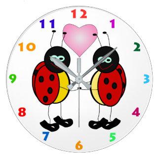 LADYBUGS & HEART Kids Wall Clock