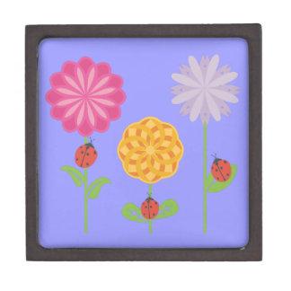 Ladybugs in a Flower Garden Jewelry Box