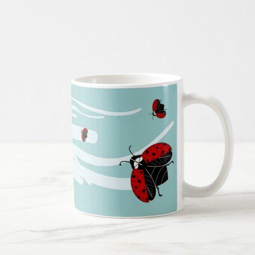 ladybugs in flight coffee mug