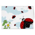 ladybugs in flight greeting card