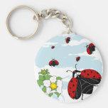 ladybugs in flight keychain