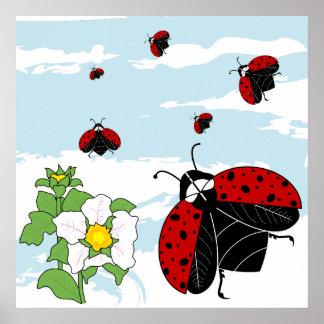 ladybugs in flight poster