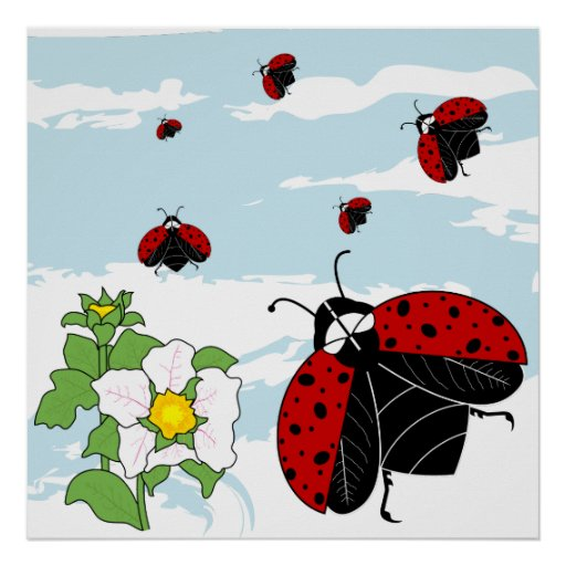 ladybugs in flight poster