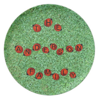 Ladybugs in Grass Field, Your Name on Their Backs Melamine Plate
