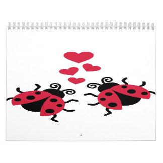 Ladybugs in love hearts calendars