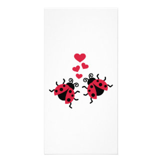 Ladybugs in love hearts customized photo card