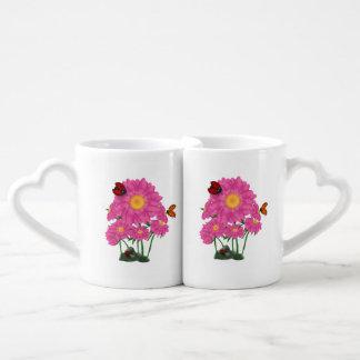 Ladybugs in Pink Daisy Garden Coffee Mug Set
