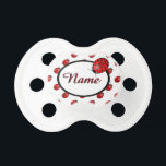 """Ladybugs in red pacifier<br><div class=""""desc"""">Copyrighted three dimensional looking ladybugs in a fun polka dots pattern. Customize,  personalize,  and choose your background color.</div>"""