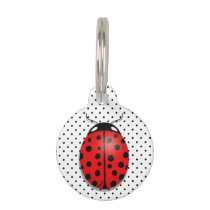 Ladybugs in red pet tag