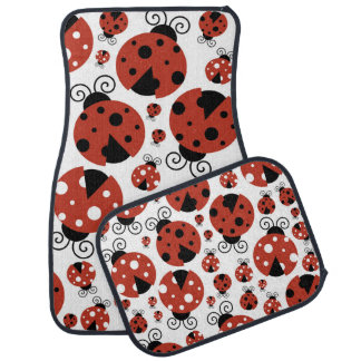 Ladybugs (Ladybirds, Lady Beetles) - Red Black Car Mat