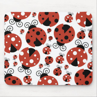 Ladybugs (Ladybirds, Lady Beetles) - Red Black Mouse Pad