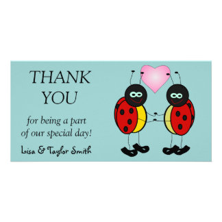 Ladybugs love photo card