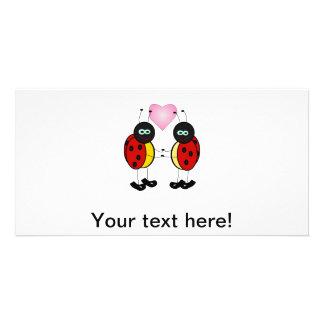 Ladybugs love photo greeting card