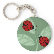 Ladybugs on Leaves Keychain