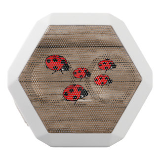 Ladybugs on Wood Board White Bluetooth Speaker