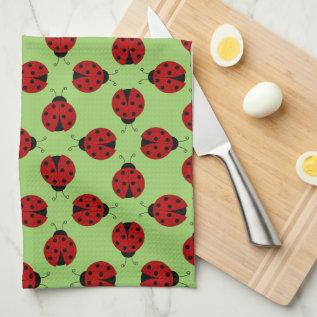 Ladybugs Pattern Kitchen Towel at Zazzle
