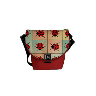 Ladybugs pattern messenger bag