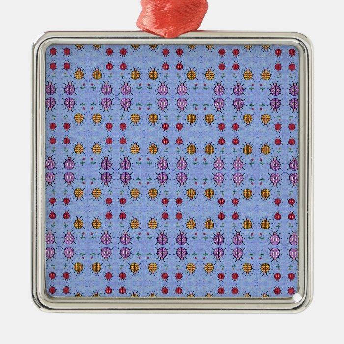 Ladybugs Pattern Metal Ornament