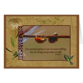 Ladybugs Perseverance Inspirational Quote Greeting Card