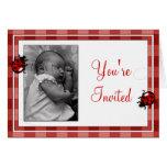 Ladybugs Photo Template Birthday Invitation Cards