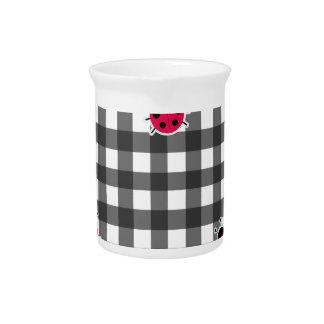 Ladybugs plaid pattern beverage pitcher