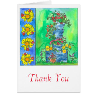 Ladybugs Red Roses Watercolor Flowers Thank You Card
