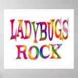 Ladybugs Rock Print