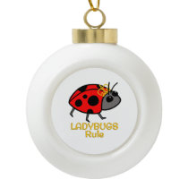 Ladybugs Rule Golden Crown Ceramic Ball Christmas Ornament